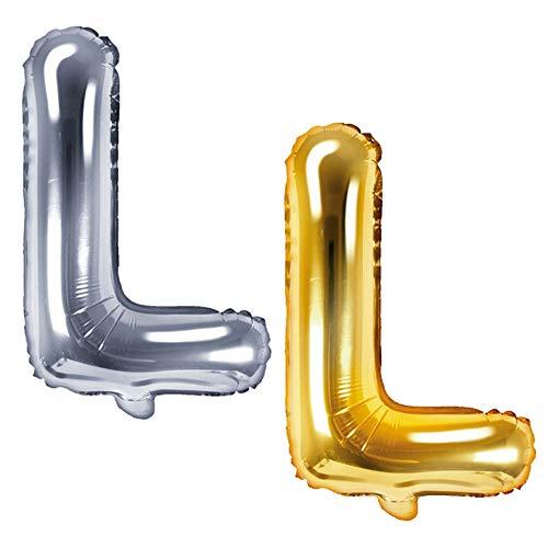 DekoHaus Folienballons Buchstaben / Zahlen Höhe 35 cm Farben: Gold oder Silber (L, Silber)