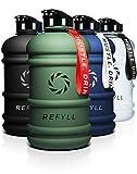 REFYLL Botella deportiva de 2 L con texto 'Beast', resistente botella de agua de 2 litros para gimnasio, fitness y entrenamiento, 2200 ml, botella de 2 l (verde militar)