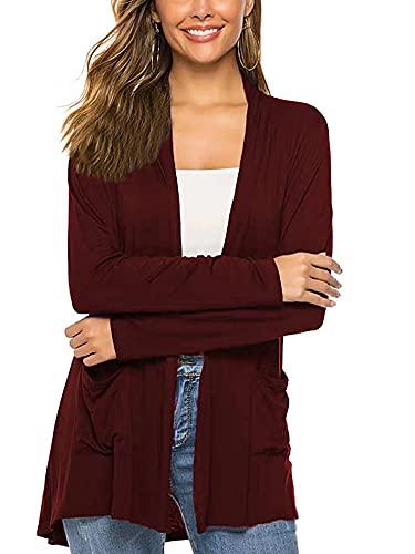 Vialogry Cárdigan de punto casual para mujer, suéter clásico de manga larga de color sólido con bolsillos, rojo vino, XL