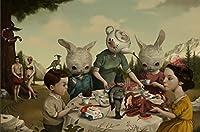 XTTYXF ジグソーパズル、素晴らしいティーポットの頭とウサギが一緒に食事をする大人の木製パズル、レジャーエンターテイメントゲームのおもちゃ、1000ピース