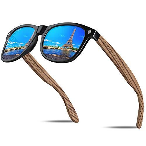 KITHDIA Gafas De Sol De Madera Polarizadas Mujer Hombres Protección Contra Rayos Ultravioleta Marco De Bambú Gafas De Sol C8001