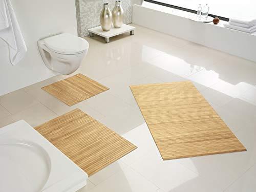 Hygienische, nachhaltige & rutschfeste Badematte aus Bambus im 3-er Set, Farbe: pure von DE-COmmerce I Fussmatte Badteppich Bambusmatte Duschmatte Badezimmermatte Bamboo Badematte Badvorleger