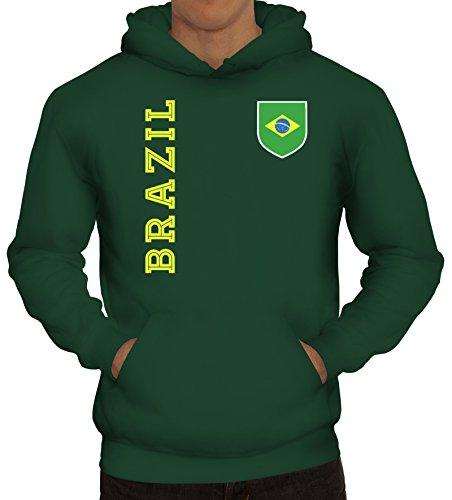 Brasil Brasilien Fußball WM Fanshirt Gruppen Herren Hoodie Männer Kapuzenpullover Fan Trikot Brazil, Größe: S,dunkelgrün