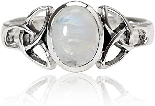 925 Sterling Silver 9 mm Genuine White Oval Moonstone Celtic Band Ring - Nickel Free