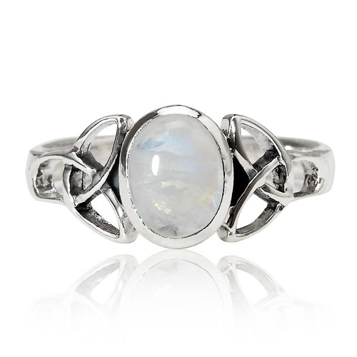 Chuvora 925 Sterling Silver 9 mm Genuine White Oval Moonstone Celtic Band Ring - Nickel Free Size 6