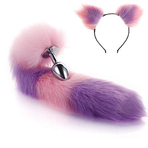 Muitar Fluffy Faux Fox Staart & Kat Oren Hoofdband Charms Role Play Kostuum Party Cosplay Prop (S) Adullt Speelgoed voor Plezier Paar Geslacht Verbetering Privacy Draadloos Wij delen