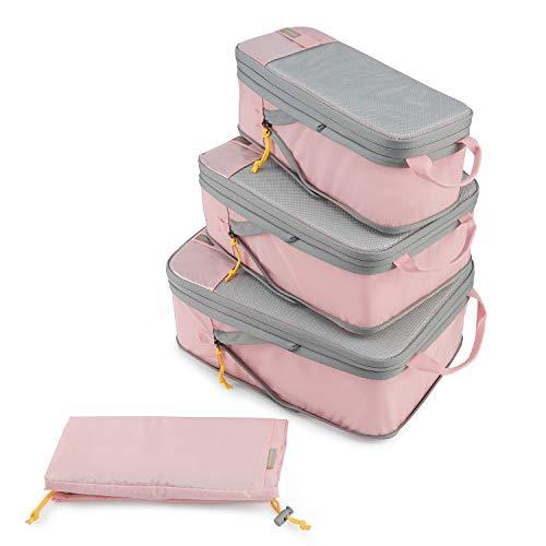 BAGSMART Kleidertaschen Set 4 Teilig packtaschen Kompression Packwürfel Set mit Wäschesack für Rucksack,Reise Organizer,Koffer Organizer auf Travel,Rosa