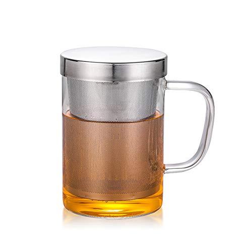 IWILCS - Vaso de té con filtro de acero inoxidable y tapa, gran taza de té, taza de cristal con tapa y asa, para preparar té o bolsas de té, 500 ml