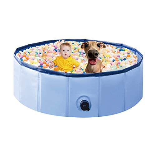TKLake Foldable Paddling Pool for Pet & Kids, Portable PVC Non-Slip Pet Dog Cat Children Paddling Pool for Indoor Outdoor Bathroom Garden (80CM)