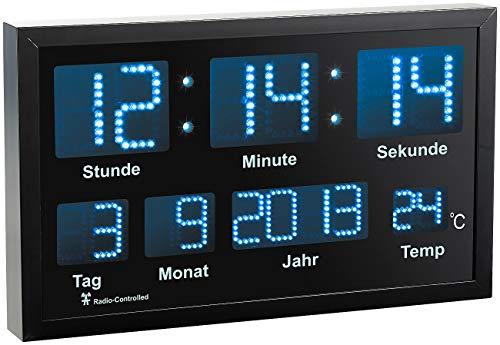 Lunartec Wand Funkuhr Digital: LED-Funk-Tisch- und Wanduhr mit Datum und Temperatur, 412 Blaue LEDs (Digitaluhr mit Temperaturanzeige)