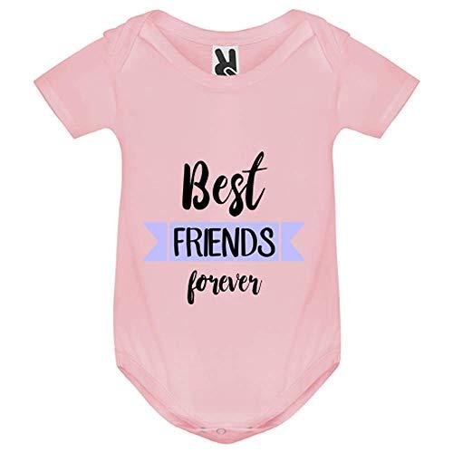 My-Kase Body bébé - Best Friends Meilleurs Amis Bleu - Bébé Fille - Rose - 12MOIS