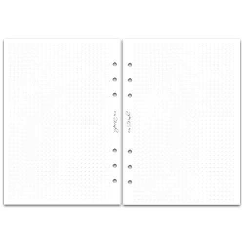 SinnWunder® 50 Blatt Premium Notiz-Papier mit 5 mm Punktraster - Für 6-Ring Organizer Größe Din A5 (14.8 x 21 cm) - Dot Grid, dotted Papier für Handlettering und Bullet-Journaling