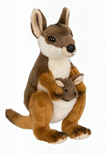 WWF 15212023 WWF00053 Plüsch Känguru Mutter mit Baby, realistisch gestaltetes Plüschtier, ca. 19 cm groß und wunderbar weich