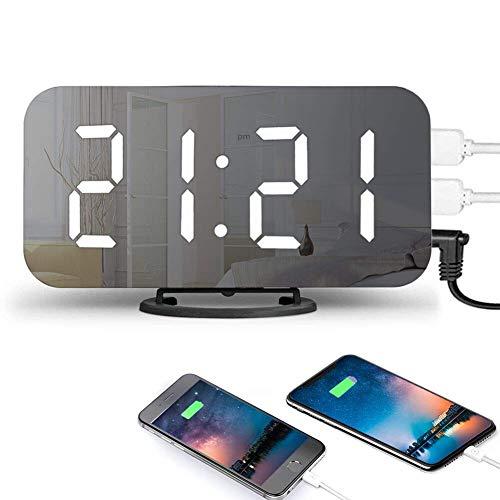 Sollucky Digitale wekker, LED, 6,5 inch, grote cijfers, spiegels, nachthorloge met twee USB-opladers, helderheid verstelbaar, voor thuis op reis en als decoratie