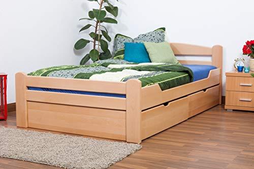 Einzelbett/GästebettEasy Premium Line K4 inkl. 2 Schubladen und 1 Abdeckblende, 120 x 200 cm Buche Vollholz massiv Natur