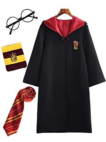 Monissy Harry Potter Cosplay Kostüm Set Umhang Zauberstab Krawatte Schal Brille Hermine Granger Kostüm Schwarze Robe Schuluniform Fasching Karneval Kostüm Halloween Fest Geburtstagsgeschenk