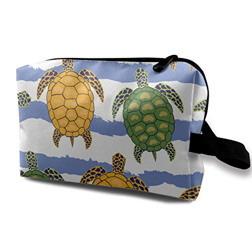 Travel Makeup Storage Bag- Portable Toiletry Handbag Small Cosmetic Organizer Pouch for Women & Men- Colorful Turtles Sea