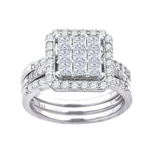 JewelryWeb Mujer 0.925 plata de ley talla princesa Cubic Zirconia