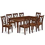 9Pc Dining Set Includes a Rectangle Dinette Table with Butterfly Leaf and Eight Double X Back Microfiber Seat Kitchen Chairs, Mahogany Finish