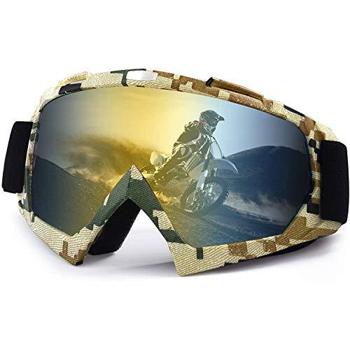 Fauge Gafas de Moto de, Gafas de Esquí de ProteccióN UV Ajustables Antiniebla con OTG, para Hombres, Mujeres y JóVenes, Color Militar