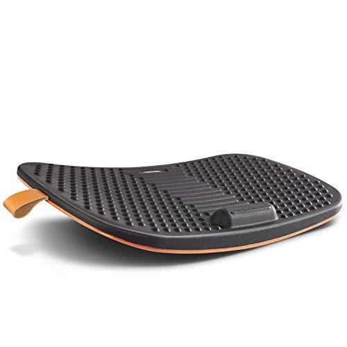 FEZIBO Standing Desk Mat with Anti Fatigue Bar, Wooden Wobble Balance Board with Ergonomic Design Comfort Floor Mat (Large, Obsidian Black)