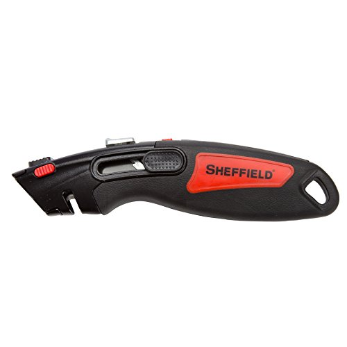 Sheffield 12111 2 Function Retractable Utility Knife with Razor Storage, Heavy Duty Box Cutter, 3 Blades Included, 5 Blade Storage, Black and Red