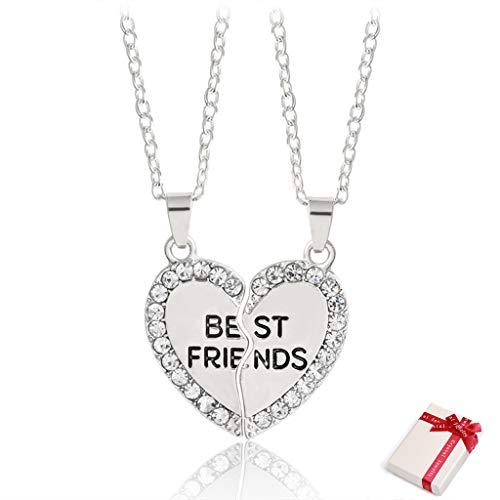 Feelairy Damen Mädchen Halskette Silber BFF Kette Gravur Best Friends, Paare Kette mit Kristall Herz Puzzle Anhänger Freundschaftsketten für 2, Partnerketten Couple Geschenke