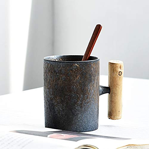 A-myt Chic y Exquisito Vintage Cerámica Cerámica Común Cerámica Taza Oxidada Esmalte De Madera De Madera Taza De Té Café De Café Cuchara De Madera Oficina de Agua Tabho