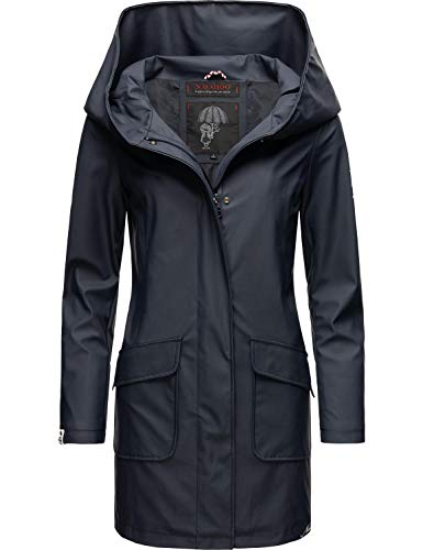 Navahoo Damen Regen Jacke lang Regenmantel Kurzmantel Outdoor Mantel Parka wasserdicht mit Kapuze Delishaa Navy Gr. 3XL