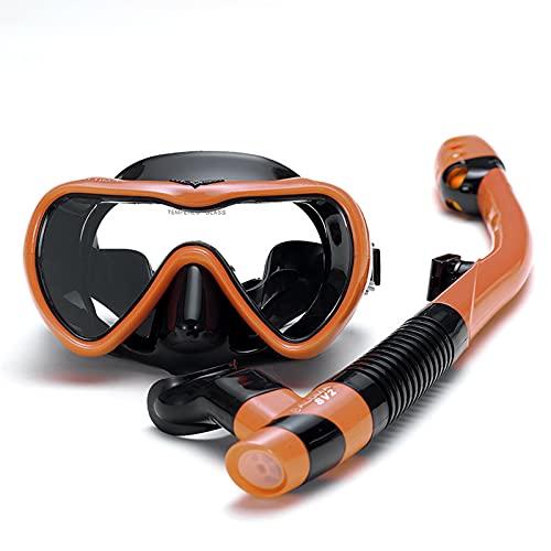 NZQK Máscara de buceo a prueba de fugas con vidrio templado resistente a los impactos, equipo de esnórquel superior seco antivaho, silicona de grado alimenticio naranja