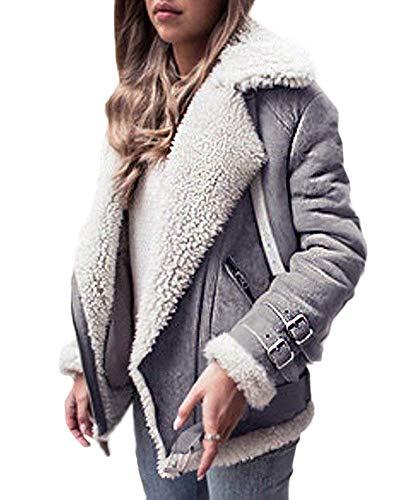 OranDesigne Damen Mäntel Mode Warm Streetwear Winter Faux Wildleder Shearling Reißverschluss Jacke Slim Fit Revers Outwear mit Taschen Grau DE 42