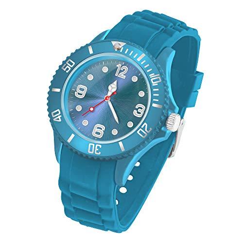 Taffstyle Deutschland Damen Uhr Analog Quarz mit Silikon-Armband Sport Farbige Sportuhr Bunte Armbanduhr Herren Kinder 43mm Türkis