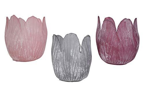 N/A - Portavelas de cristal (3 unidades, 7,5 cm)
