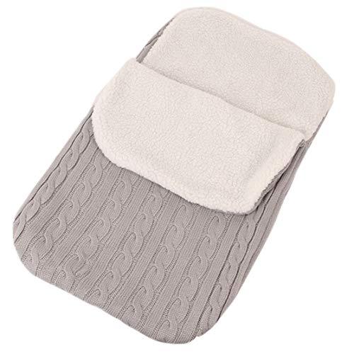 Manta Envolvente Bebe Recien Nacido Felpa Invierno Termico Saco de Dormir Swaddle Blanket Diseño Multifunción para Cochecitos 0-3 Meses 68 * 38cm