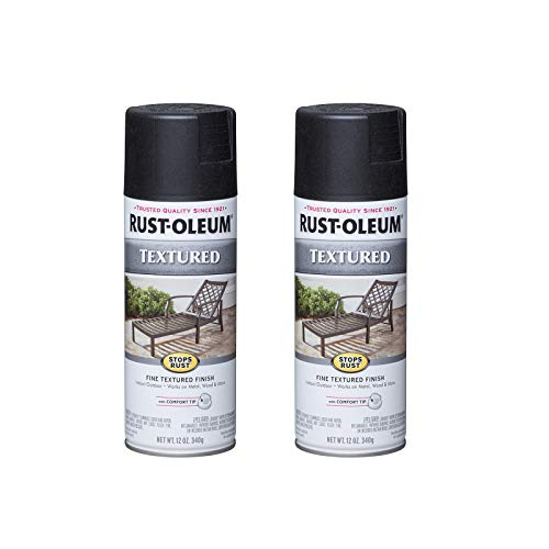 Rust-Oleum 7220830A2 Stops Rust Textured Spray Paint, 2 Pack, Black, 2 Count