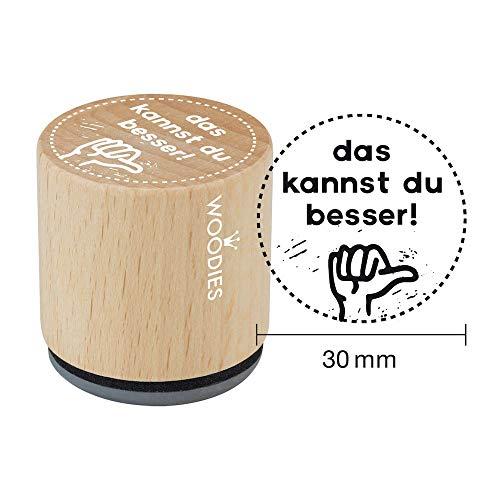 Woodies W13007 Stempel das Kannst du Besser, Holz, 3,4 x 3,4 x 3,5 cm