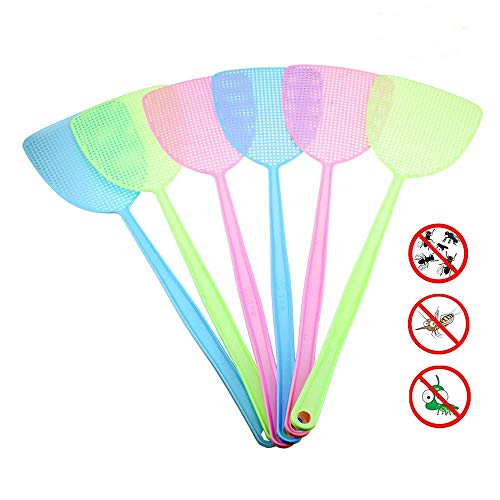 Dapei Fliegenklatsche 6 Stück, Pest Control, mit Integriertem Mückenschaber Fliegenschutz Fliegenschutz Mückenschutz für Fliegen Mücken und Insekten, Ideal für Drinnen und Draußen
