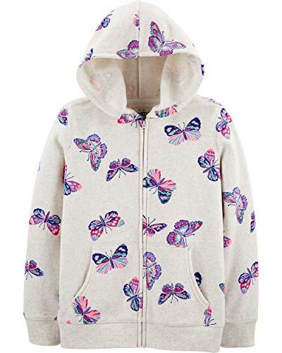 Osh Kosh Girls' Toddler Full Zip Logo Hoodie, Oatmeal Butterflies, 4T
