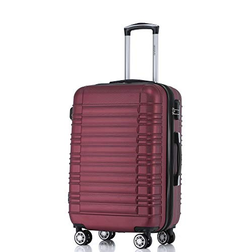 BEIBYE 2088 Zwillingsrollen Reisekoffer Koffer Trolleys Hartschale M-L-XL-Set in 13 Farben (Weinrot, XL)