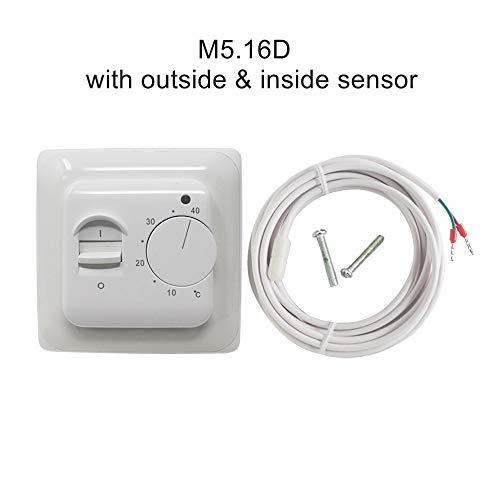 NLLeZ Termostato de calefacción de piso mecánico 1SET 16A AC 230V Controlador de temperatura de calefacción electrónica retardante Termostato de la habitación PCV (Color : M5.16D)
