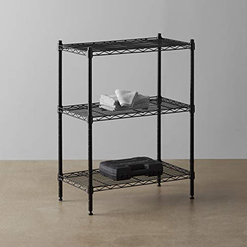 Amazon Basics 3-Shelf Adjustable, Heavy Duty Storage Shelving Unit (250 lbs loading capacity per shelf), Steel Organizer Wire Rack, Black (23.3L x 13.4W x 30H)