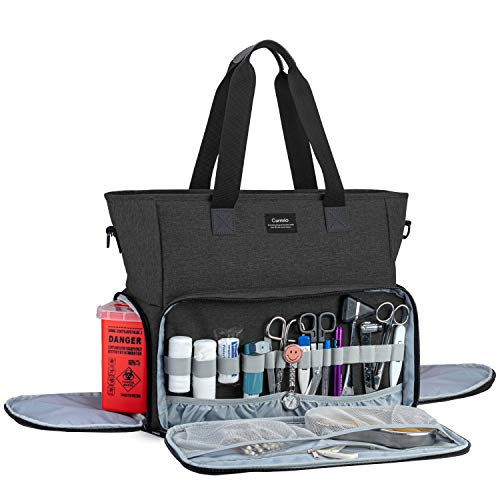 CURMIO Nurse Bag and Tote for Work  Nursing Clinical Bag with Padded Laptop Sleeve for Home Visits  Health Care  Hospice  Bag ONLY  Black (Patented Design)