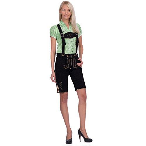 Gaudi-Leathers Damen Frida Trachten Lederhose, Schwarz (Schwarz 050), W31 (Herstellergröße: 34)