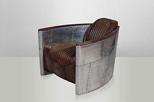 Casa Padrino Art Deco Echt Leder Sessel Aviator Echt Leder Destroyed Raw Leather/Silber - Club Sessel - Lounge Sessel, Flieger Sessel