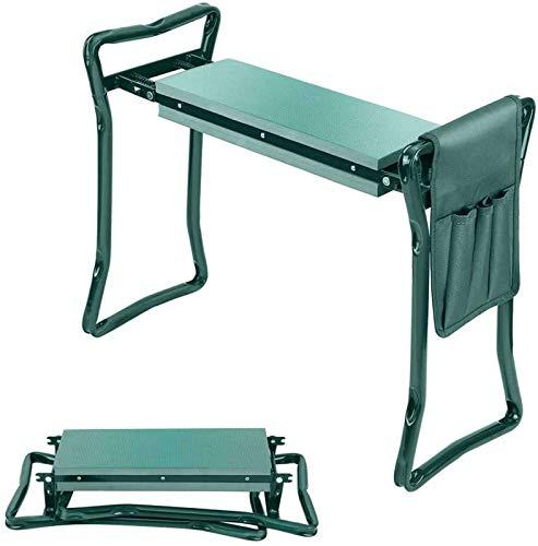 Asiento De Jardín Pesado Garden Kneeler Seat Stool, Taburete Plegable para Jardín with Tool Pocket Cojín De Espuma EVA para Jardinería Exterior Pescar-B-Verde