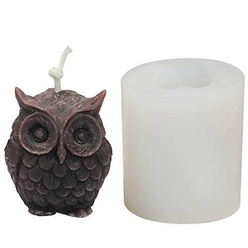 Taghua Candle Mold, 3D Owl Animal Silicone Resin Clay Candle Molds for Soap, Candle, Chocolate, Cake Decoration Party Supplies