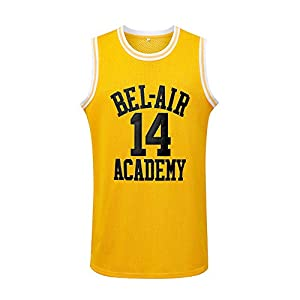 Generies #14 The Fresh Prince of Bel Air Academy Men Basketball Jersey, Yellow L