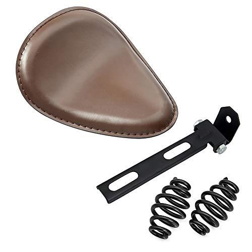 "Amazicha Brown Leather Solo Seat 3"" Black Spring Bracket Mount Kit Motorcycle Compatible for Harley Honda Yamaha Kawasaki Suzuki Sportster Bobber Chopper"
