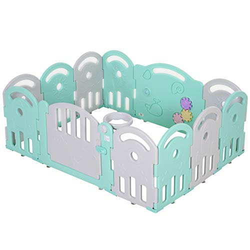 HOMCOM Kinderlaufgitter Schutzgitter Umkipp-Design HDPE-Material Faltbar für Baby 6-36 Monate 12 Stück 158 x 119,5 x 61,5 cm Grün
