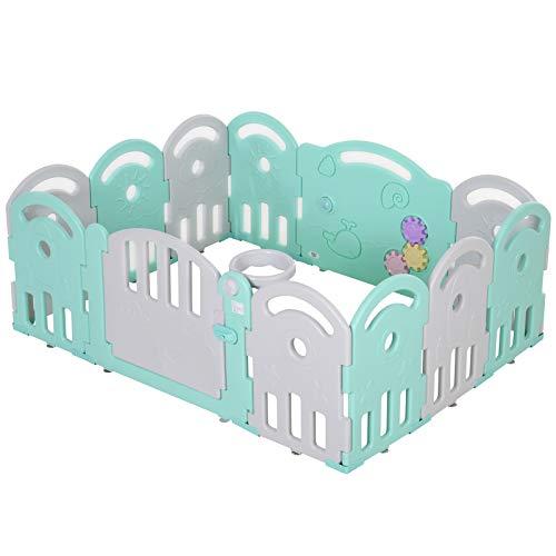 HOMCOM Baby Laufgitter, Absperrgitter, 12 Elemente Schutzgitter, Korb, Zahnräder, HDPE, Grün, 162 x 122 x 63 cm